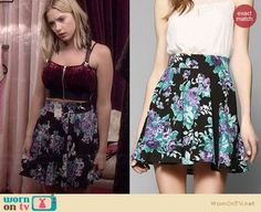 Hanna's red velvet zip front crop top and floral circle skirt on Pretty Little Liars.  Outfit Details: https://wornontv.net/34352/ #PLL