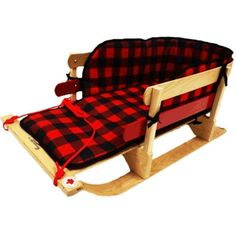 "39.5"" Wood Baby Sleigh, with Plaid Pad"