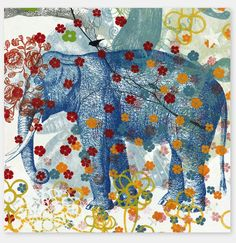 Blue Elephant Roses Art by Supermaggie