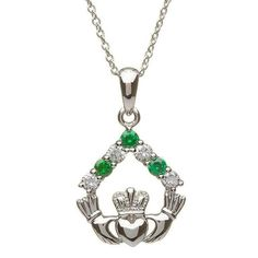 ShanOre Silver Claddagh Stone Set Pendant
