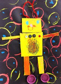 Splats, Scraps and Glue Blobs: Color Robots - Kindergarten Collage of Shapes