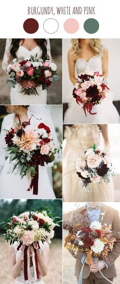 burgundy, white and pink wedding bouquets ideas