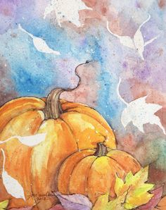 watercolor painting. pumpkins. Negative space leaves, using frisket or drawing gum, masking, etc.