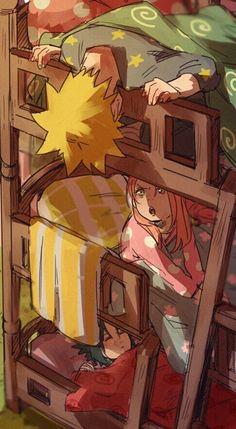 Team 7, cute, young, childhood, Sasuke, Naruto, Sakura, bunk beds, sleeping, pajamas; Naruto