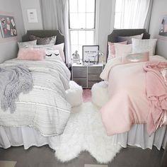 Sasha Stripe Comforter and Sham Set – Twin/Twin XL Pink Ombre Comforter Set – Full/Queen Dorm Bedding Set Dorm Room Designs, Girl Bedroom Designs, Design Room, Bathroom Designs, Interior Design, Design Design, House Design, Twin Girl Bedrooms, Girls Bedroom