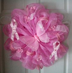 Deco Mesh BREAST CANCER WREATH by ADoorableCreations05 on Etsy, $70.00