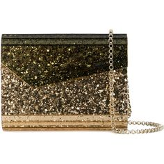 Jimmy Choo patent glitter clutch ($930) ❤ liked on Polyvore featuring bags, handbags, clutches, metallic, purse clutches, evening purses clutches, jimmy choo handbags, brown handbags and hand bags