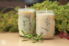 Make your own pressed herb candles using herbs harvested from your very own garden. They make great gifts or home decor. Mason Jar Candles, Beeswax Candles, Mason Jar Diy, Diy Candles, Scented Candles, Rosemary Plant, Pots, Candle Making Business, Candle Containers