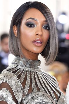 For the Manus-x-Machina-themed Met Gala, Jourdan Dunn added a violet-tinged silver ombré to her sleek bob.