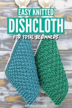 Knitted Dishcloth Patterns Free, Beginner Knitting Patterns, Knitted Washcloths, Crochet Dishcloths, Knitting For Beginners, Loom Knitting, Knitting Stitches, Start Knitting, Knitting Ideas