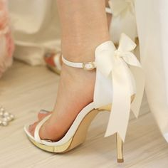 Simply Elegant White Satin Bridal Ankle Strap Sandal with Bow Ornament | eBay