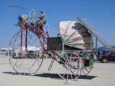 Giant bug art car:  (solar-powered)