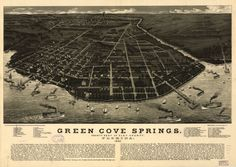 Green Cove Springs Florida 1885 Antique Old Map by GalleryLF Map Of Florida Cities, Florida City, Old Florida, Green Cove Springs Florida, Old Maps, Historical Maps, Birds Eye View, City Photo, Vintage Prints