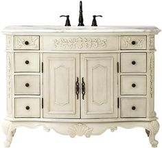 Home Decorators Collection Winslow 48 in. Vanity in Antique White with Marble Vanity Top in White 1591200410 - The Home Depot Vanity Wash Basin, Bathroom Vanity Base, Laundry In Bathroom, Simple Bathroom, Bathroom Ideas, Bathroom Vanities, Bathroom Designs, Interior Design Courses Online, Best Home Interior Design