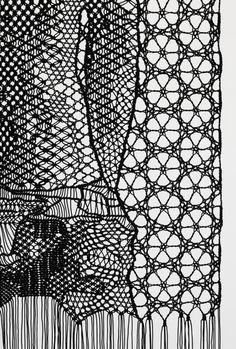 The Judgement of Paris (after Wtevael) (detail), Pierre Fouche. Macrame and bobbin lace in polyester braid. Textile Texture, Textile Fiber Art, Textile Artists, Bobbin Lace Patterns, Textile Patterns, Print Patterns, Loom Patterns, Red Malla, Textile Arts Center