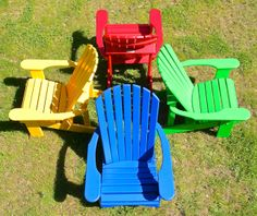 Bright red, yellow, blue & green Western red cedar Adirondack chairs make a bold statement