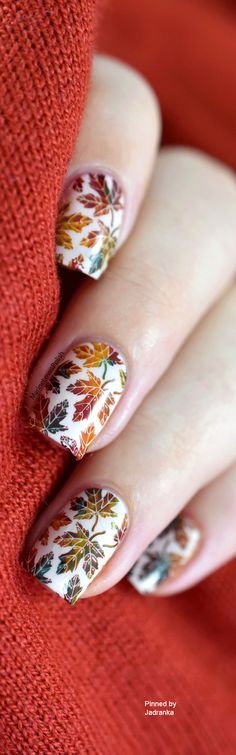 Rainbow of fall colors...Fall leaves nail art design