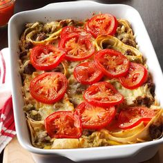This layered tortilla dish is not only delicious, but it's a real time-saver because it's put together the night before. The tomato slices provide a nice touch of color. I like to serve this crowd-pleasing casserole with muffins and fresh fruit. Best Breakfast Recipes, Breakfast Dishes, Breakfast Time, Brunch Recipes, Brunch Ideas, Breakfast Ideas, Breakfast Casserole, Brunch Dishes, Dinner Ideas