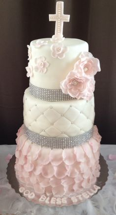 3-Tier Girl Christening Cake