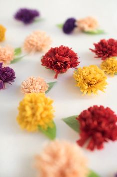 Fall Chrysanthemum Flower Favors DIY by Oh Happy Day! Click through for an easy crepe paper flower tutorial...
