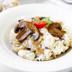 Fit houbové rizoto - recept Bajola Guacamole, Risotto, Grains, Rice, Cooking, Ethnic Recipes, Fitness, Diet, Kitchen
