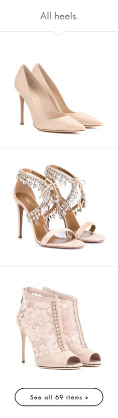 """All heels."" by aylin-schroeder on Polyvore featuring shoes, pumps, heels, sapatos, high heels, neutrals, patent shoes, patent leather shoes, gianvito rossi shoes und nude patent leather pumps"
