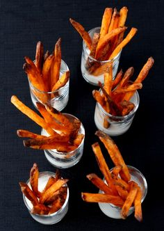 Baked, crispy, french fries coated in buffalo wing sauce.