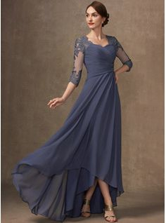 A-Line Square Neckline Asymmetrical Chiffon Mother of the Bride Dress With Appliques Lace Sequins (008235589) - JJ's House Long Mothers Dress, Mother Of The Bride Dresses Long, Mother Of Bride Outfits, Mothers Dresses, Plus Size Evening Gown, Lace Evening Dresses, Evening Gowns, Mob Dresses, Ball Dresses