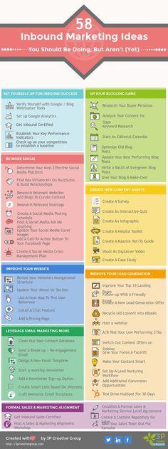 58 Tried & True Inbound Marketing Ideas. #infographic #marketing