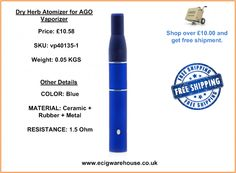 http://www.ecigwarehouse.co.uk/dry-herb-atomizer-for-ago-vaporizer.html Structures: rubber mouthpiece, ceramic filter, mesh filter, spring, chamber connector, ceramic heating chamber.