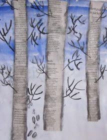 Kaarisillan kuvataide: Jänis loikki pellon poikki Winter Art, Winter Theme, Birch Tree Art, Art Therapy Projects, Edvard Munch, Art Lessons, Seasons, Crafts, Character
