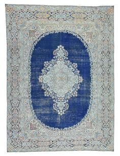 Size: 9' x 12' Vintage Style Cobalt Blue Hand-Knotted Wool Rug #RGB7AC Specially Priced at $2375 Hall And Stair Runners, Custom Rugs, Oriental Rug, Living Room Decor, Furniture Design, Area Rugs, Wool Rugs, House Design, Art Crafts