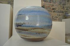 Handmade azure blue decorative pot in glazed ceramic by Lampecco