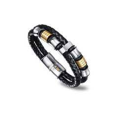 Flott herrearmbånd i flettet sort skinn med sølv og gull fargede perler. Mans World, Elegant, Bracelets, Leather, Jewelry, Men's Jewelry, Jewels, Men's, Male Jewelry