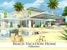 Beach Vacation Home by Pralinesims at TSR via Sims 4 Updates