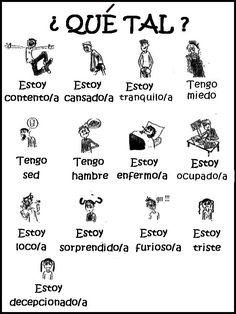 Common Spanish vocabulary for emotions and states of being ¿Cómo estas? Spanish Posters, Spanish Phrases, Spanish Grammar, Spanish Vocabulary, Spanish Words, Spanish Language Learning, Spanish Teacher, Spanish Classroom, Latin Grammar