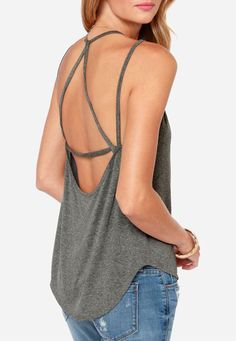 Strappy Gray Tank Top