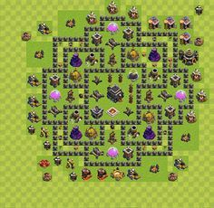 Base plan (layout) for trophies collecting TH  9 (Town Hall level 9, TH 9), variant 9