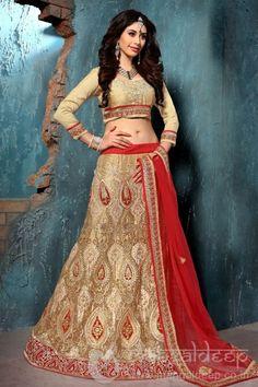 c060a541f42 Women s Net Fabric Tan Brown Pretty Unstitched Lehenga Choli With Resham  Work Dupatta