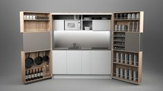 Dizzconcept's full-sized gourmet PIA kitchen fits in a cabinet and takes up just 16 square feet | Inhabitat - Sustainable Design Innovation, Eco Architecture, Green Building