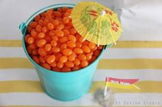 One bucket with blue jelly beans and another with pink? Mmm...Jelly Bellies...