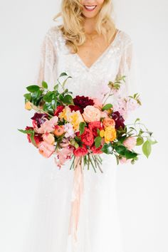 Pink, peach, coral + burgundy | Read More: http://www.stylemepretty.com/2014/06/10/gold-pink-wedding-inspiration/ | Photography: Kerinsa Marie  - www.kerinsamarie.com