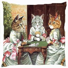 Retro vintage Victorian cat girls play poker card game funny cushion cover throw pillow case  Cute kitty woman playing poka afternoon tea party image is the same on both sides   Decorative throw pillo