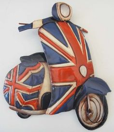 Contemporary Metal Wall Art Decor Or Sculpture - Full Union Jack Scooter Vespa