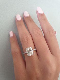 Radiant Engagement Rings, Dream Engagement Rings, Cushion Cut Engagement Ring, Engagement Ring Settings, Vintage Engagement Rings, Solitaire Engagement, Engagement Rings White Gold, Vintage Rings, Cushion Cut Rings