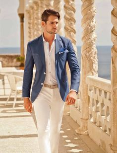 All White & Silver Blue | Summer Wedding Outfit | Men's Fashion | Menswear | Shop at DesignerClothingFans.com