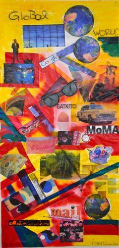 """""""GLOBAL WORLD"""" - Técnicas mistas. 160alt.x80larg. Uma visão do nosso mundo global. Outras obras de ISABEL PINHEIRO em www.isabelpinheiro.com e visite a página http://www.Facebook.com/ISABELPINHEIROARTE"""