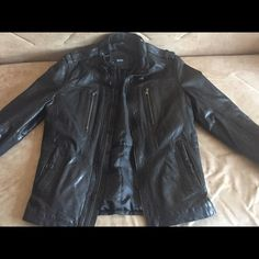 Hugo boss leather jacket ! Hugo boss leather jacket for men ! Size is in photo this has been worn only twice! Hugo Boss Jackets & Coats