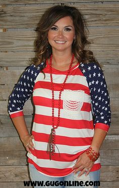 Let Freedom Ring USA Flag Top with Crochet Pocket www.gugonline.com $33.95