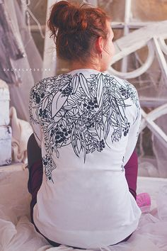 Купить Толстовка - свитшот с росписью Black&White - роспись одежды, роспись по ткани, красивый рисунок
